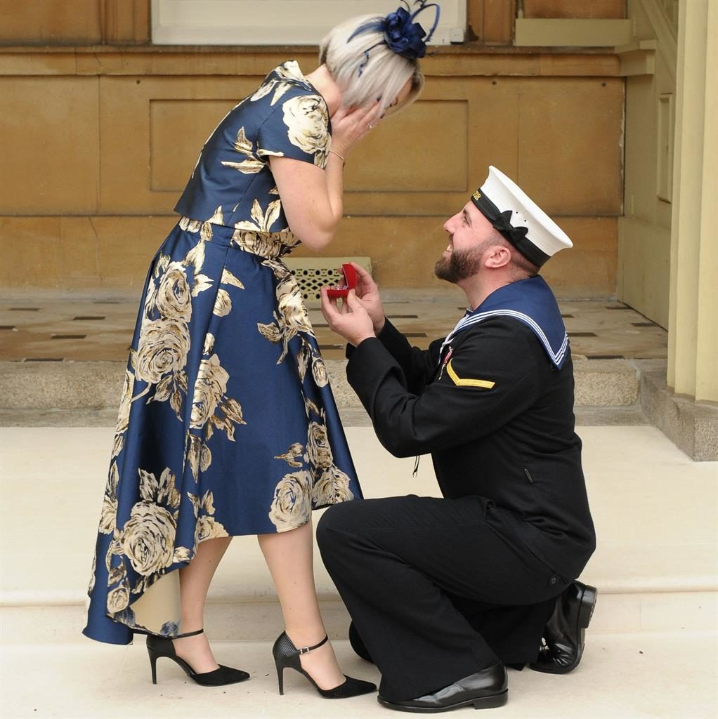 'Special day': Matthew Gallimore surprises his girlfriend Adele Thomasson by getting down on one knee PICTURES: PA