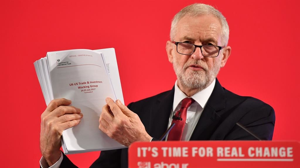 'It's on the table': Jeremy Corbyn holds up documents related to UK-US trade talks PICTURE: GETTY