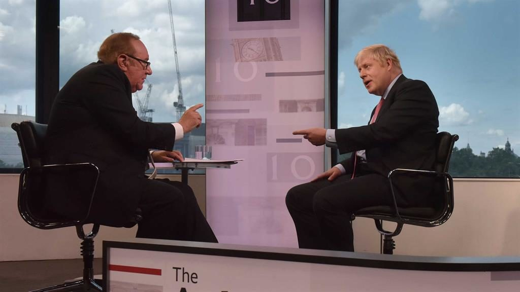 Grilling: Boris Johnson last faced Andrew Neil in July PICTURE: BBC
