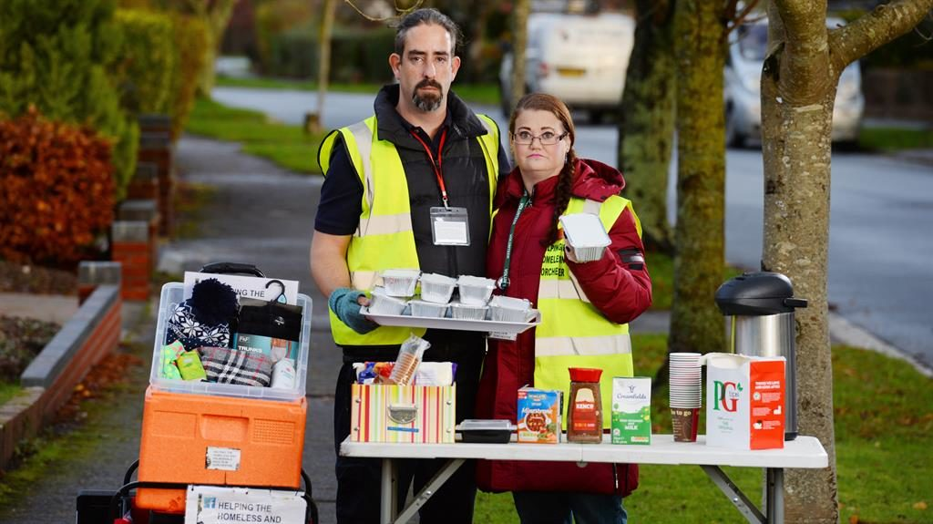 Home cooking: But Luke Bird and Rebecca Hobby were ordered to stop serving hot drinks and food to homeless PICTURES: BNPS