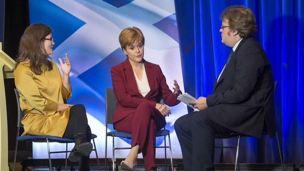 Point taken: Sharon Lougher and Joel Taylor question the SNP's Nicola Sturgeon PICTURES: IAN RUTHERFORD