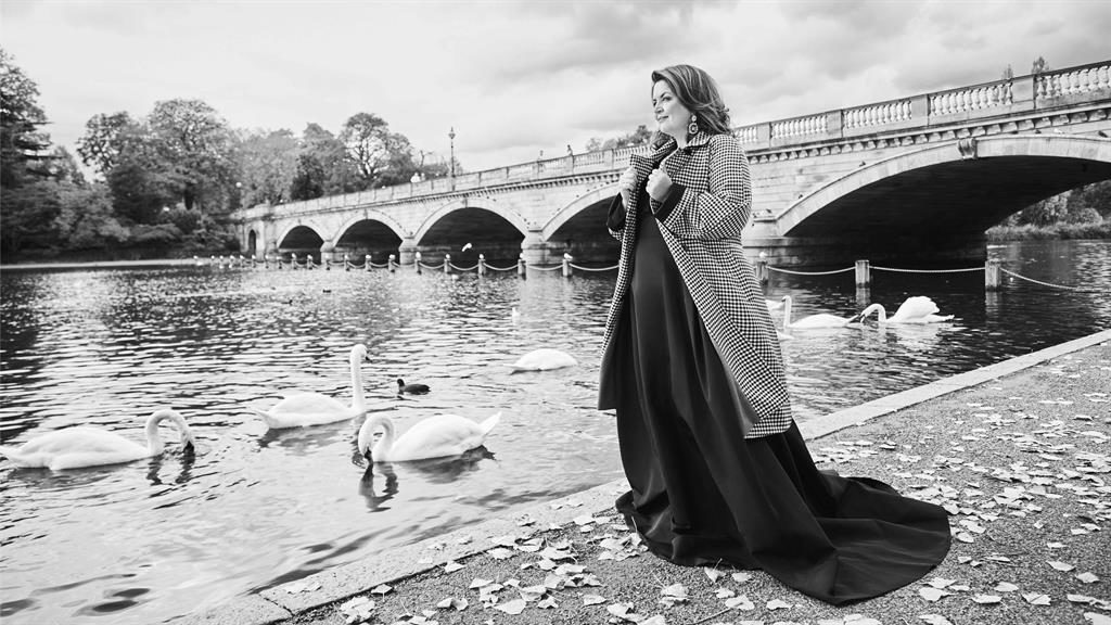 Swanning around: Ruth Jones by the Thames and (below) the January issue of Red magazine out on Wednesday