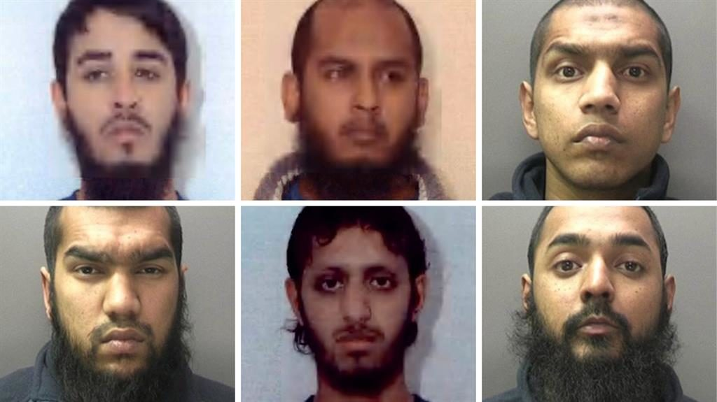 Bomb plot jihadists: Top from left, Mohammed Shahjahan, Shah Mohammed Rahman and Gurukanth Desai. Bottom from left, Abdul Malik Miah, Nazam Hussain and Omar Sharif Latif. They admitted terror charges in 2012 PICTURES: EPA