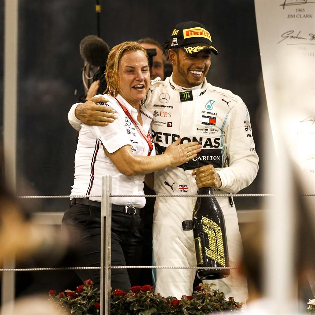 Power brokers: Seeger joins Hamilton on the podium Picture: avalon