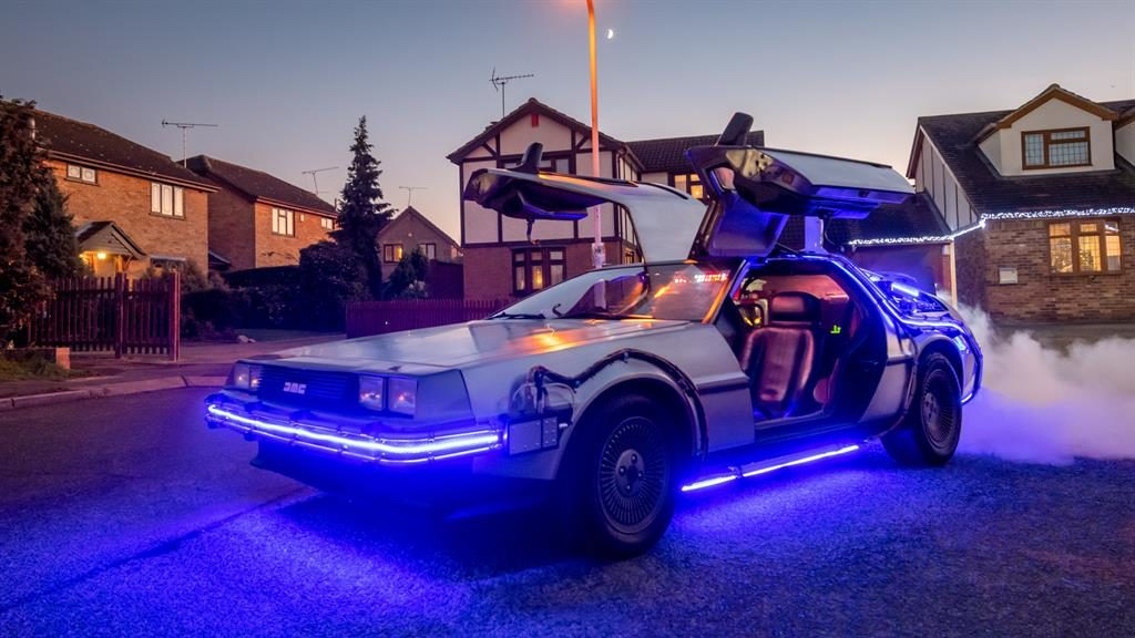 Movie magic: The iconic DeLorean has been lovingly recreated to match the car from the Back To The Future films PICTURES: SWNS