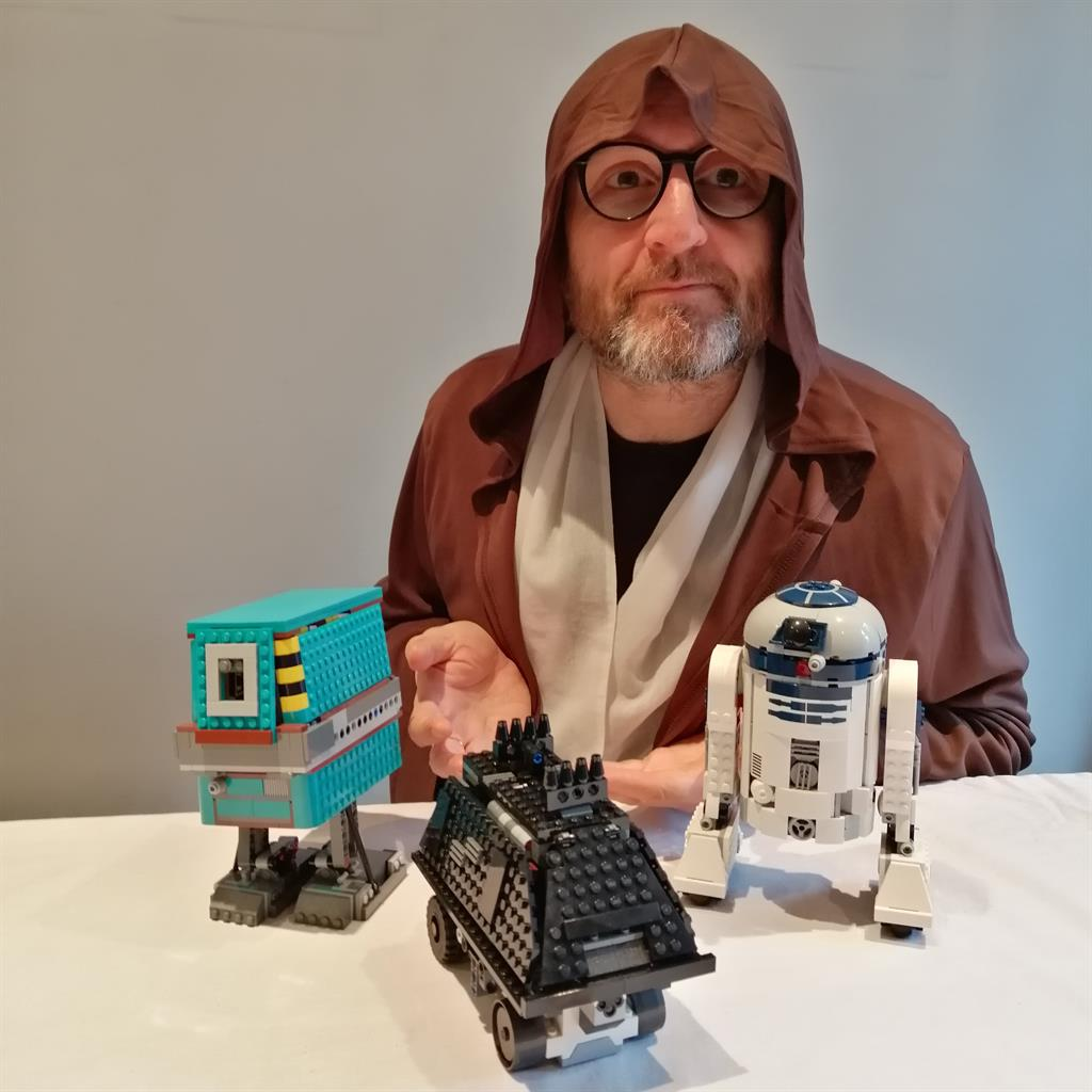Sith sense: Paul with Lego's Gonk Power Droid, a Mouse Droid and R2-D2