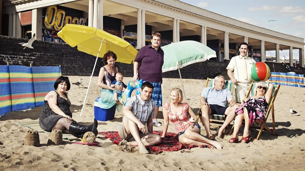 Seas the day: (from left) Ruth Jones, Melanie Walters, Mathew Horne, James Corden, Joanna Page, Larry Lamb, Rob Brydon and Alison Steadman on Barry Island a decade ago