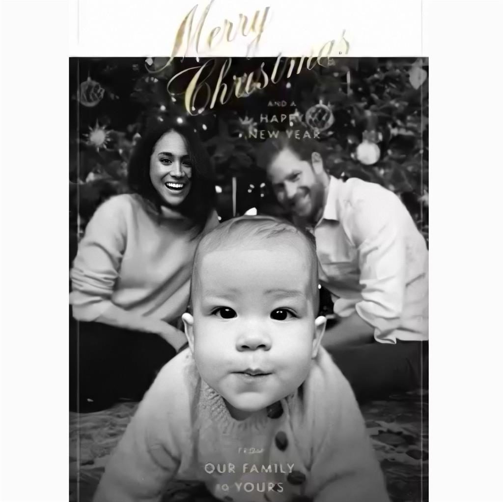Up close and personal: Baby Archie steals the show in the Christmas card PICTURE: PA