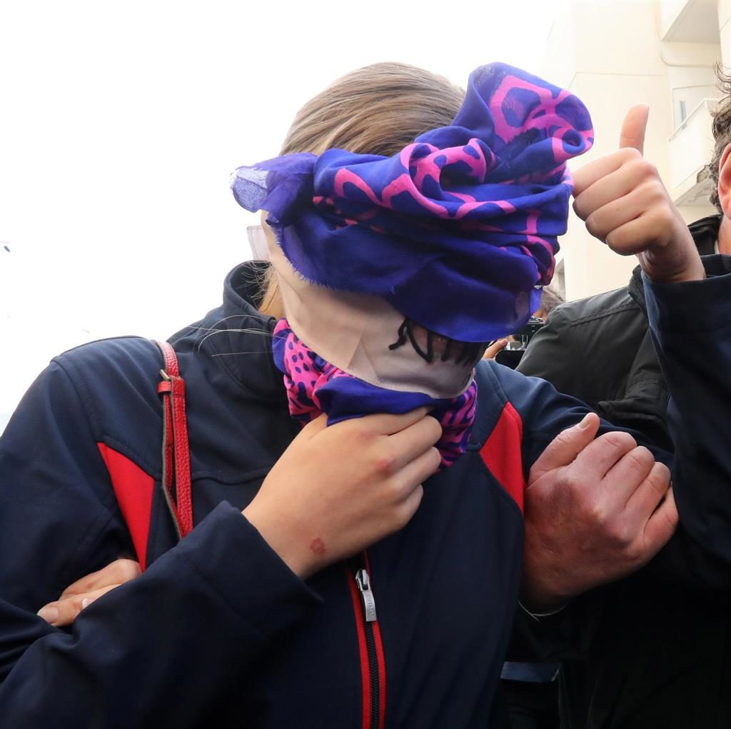 Found guilty: The British woman and alleged victim of a gang rape arrives at Famagusta District Court in Paralimni, Cyprus yesterday morning PICTURE: EPA