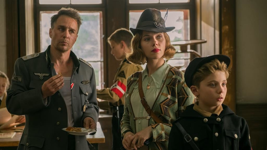 'Daring': Sam Rockwell, Scarlett Johansson and Roman Griffin Davis star in the offbeat comedy PICTURE: LARRY HORRICKS