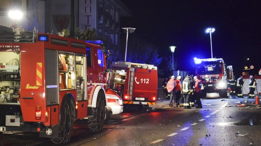 'Like a battlefield': Emergency services attend the crash in northern Italy PICTURE: AP