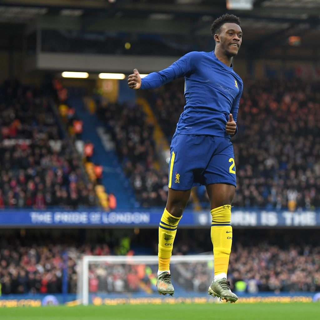 Blues boost: Hudson-Odoi celebrates his goal against Forest PICTURE: GETTY