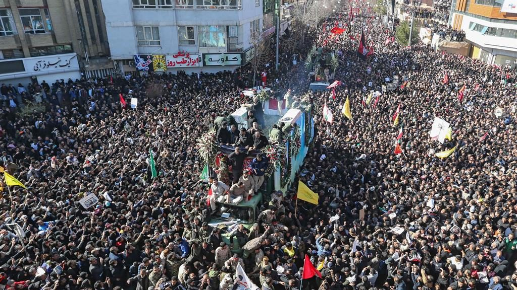 Packed streets: Thousands gathered to pay their respects to General Soleimani  PICTURE: AFP