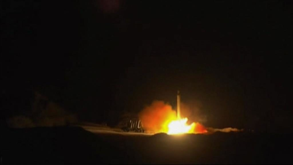 Launch: An image from state-run news agency Iran Press allegedly showing the rockets taking off for last night's attack PICTURES: AFP/EPA