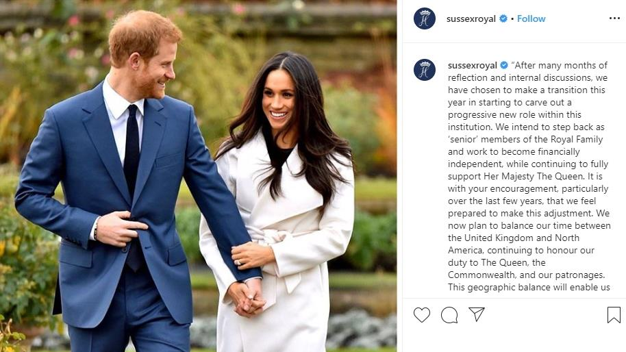 Official: Royal couple's shock Instagram statement last night