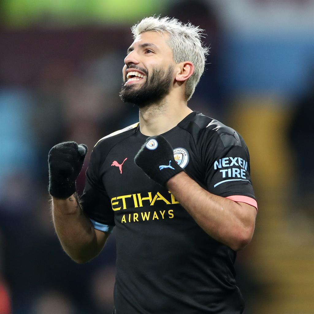 Serg-ing ahead: Aguero celebrates his third goal for City yesterday PICTURE: PA