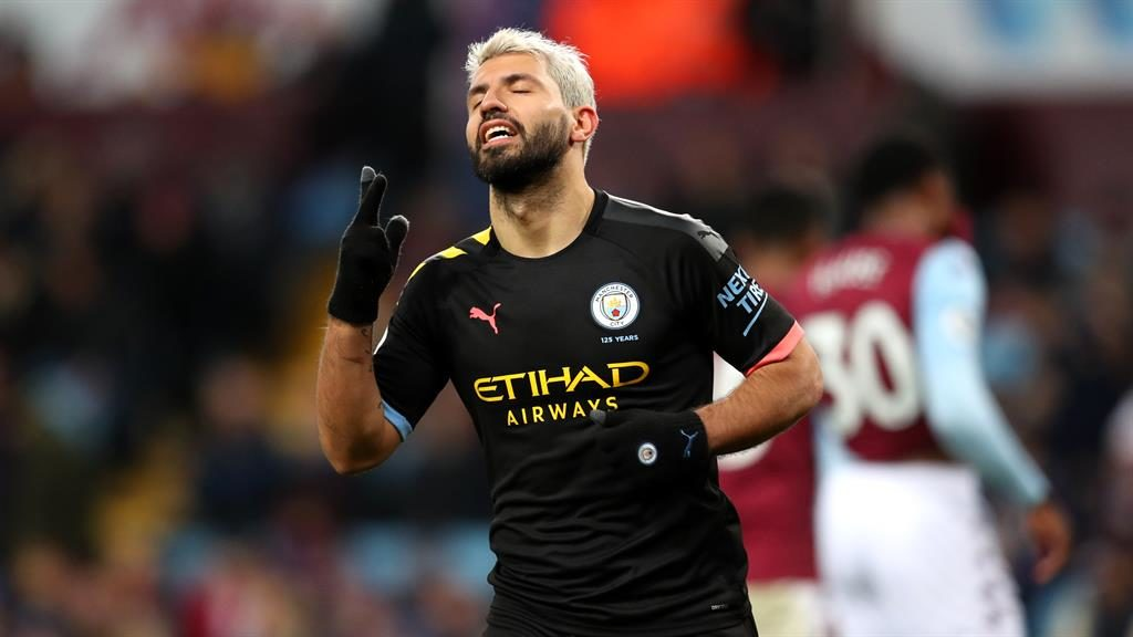 In a class of his own: Aguero savours his third goal against Villa PICTURE: GETTY