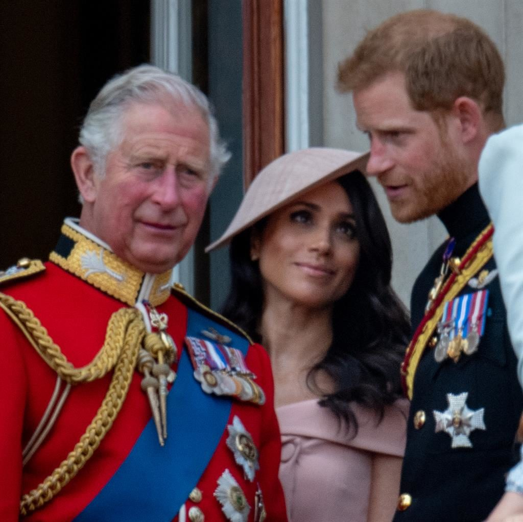 'Hurt': Charles, with Harry and Meghan PICTURE: GETTY