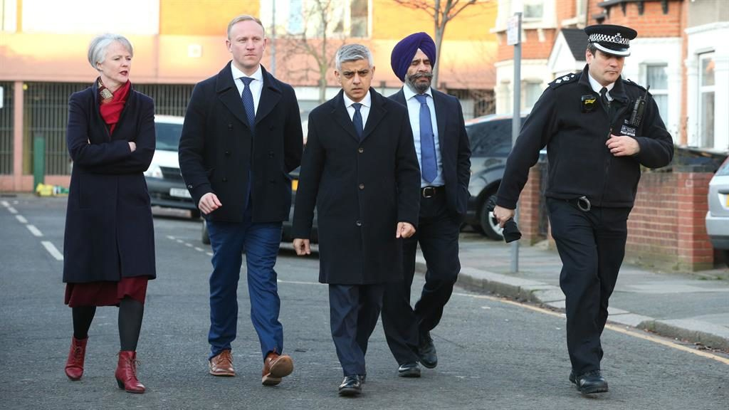 'Shocking': Mayor Sadiq Khan arrives in east London after clashes involving rival Sikh groups. Two men have been arrested on suspicion of murder PICTURE: PA