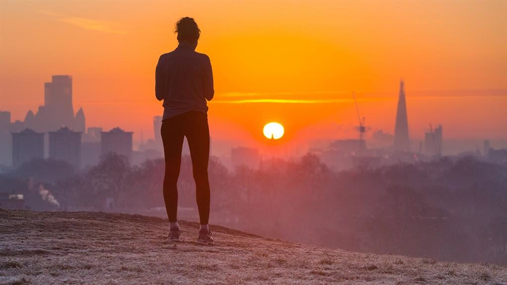 Chilling out: Watching the sun rise on Primrose Hill, London PICTURE: SWNS