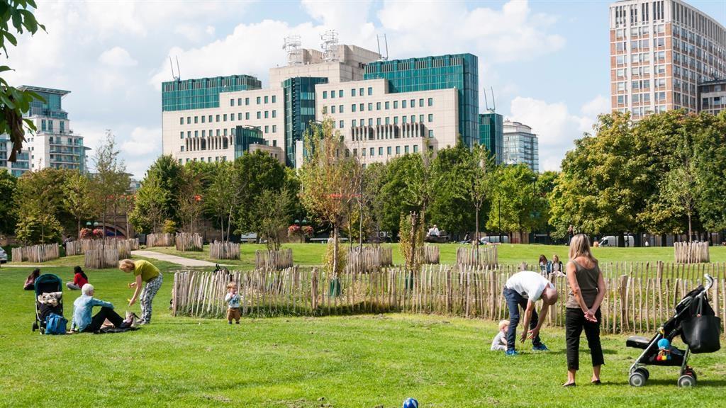 Secret garden: The MI6 building provides an impressive backdrop to Vauxhall Pleasure Gardens PICTURE: ALAMY