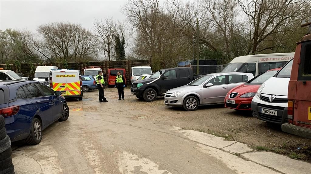 Police probe: The scene at Marshgate Industrial Estate PICTURES: SWNS