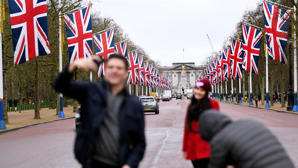 End of an EU-ra: Union Flags line the Mall in London PICTURE: JAMES VEYSEY/REX