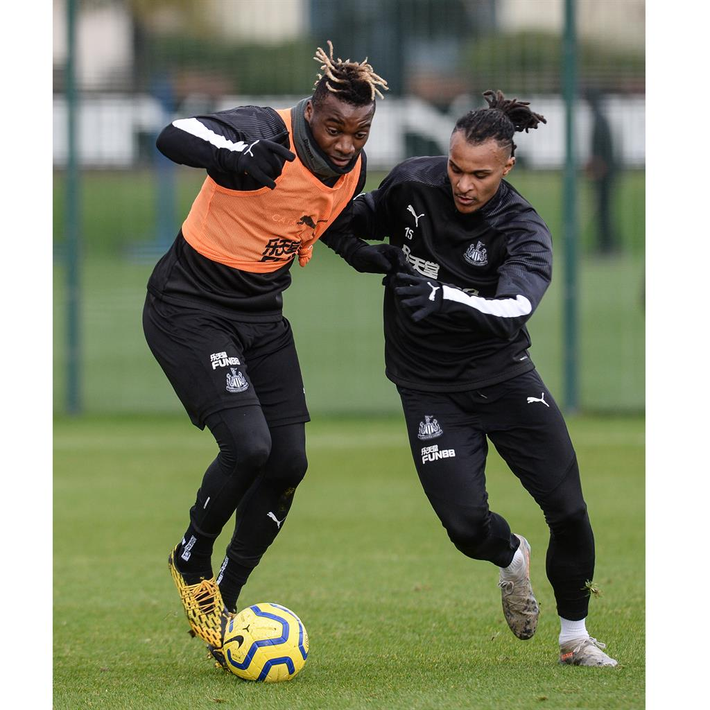 Tyne for a change: Newcastle's Allan Saint-Maximin (left) and Valentino Lazaro PICTURE: GETTY
