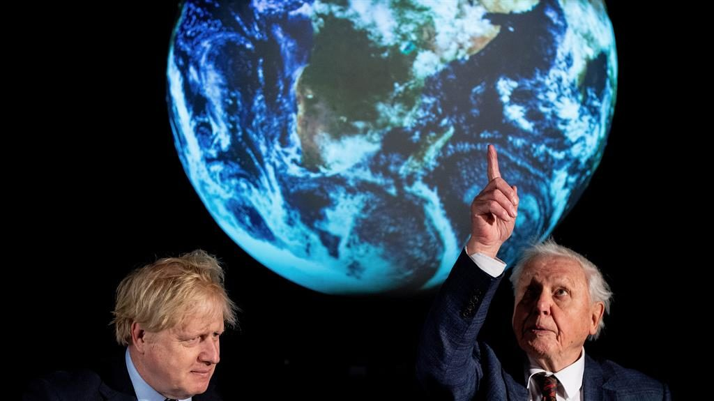 Summit's up: Boris Johnson and Sir David Attenborough PICTURE: GETTY