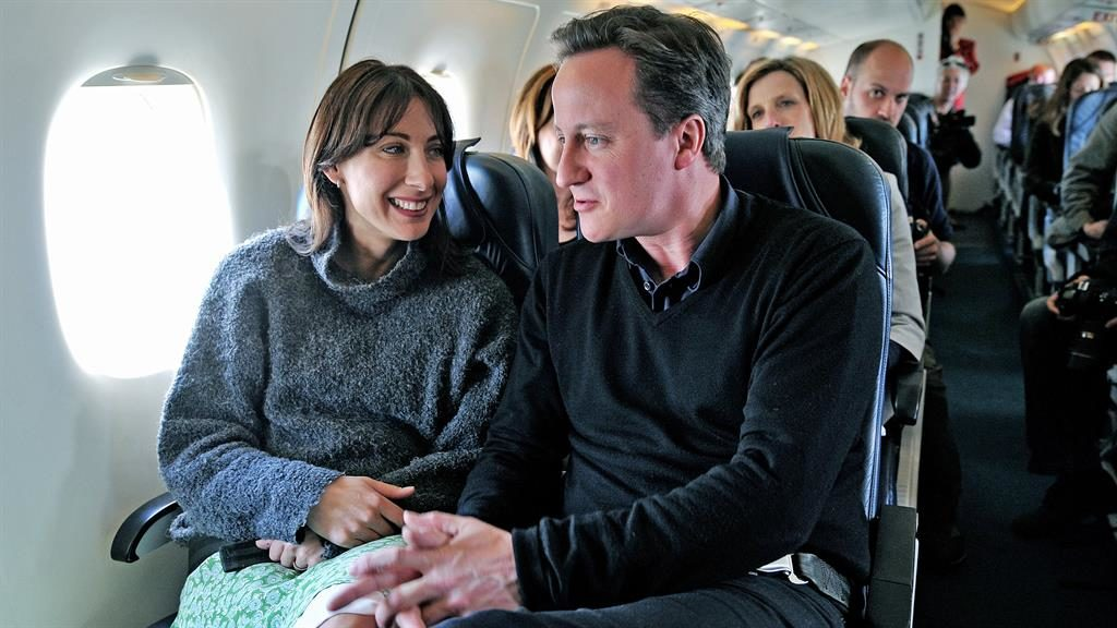 Glock-down: Flight David and Sam Cameron were on was delayed PICTURE: AFP
