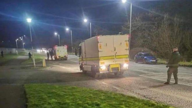 Evacuated: Bomb disposal experts at industrial estate where truck was found with 'viable' explosive device