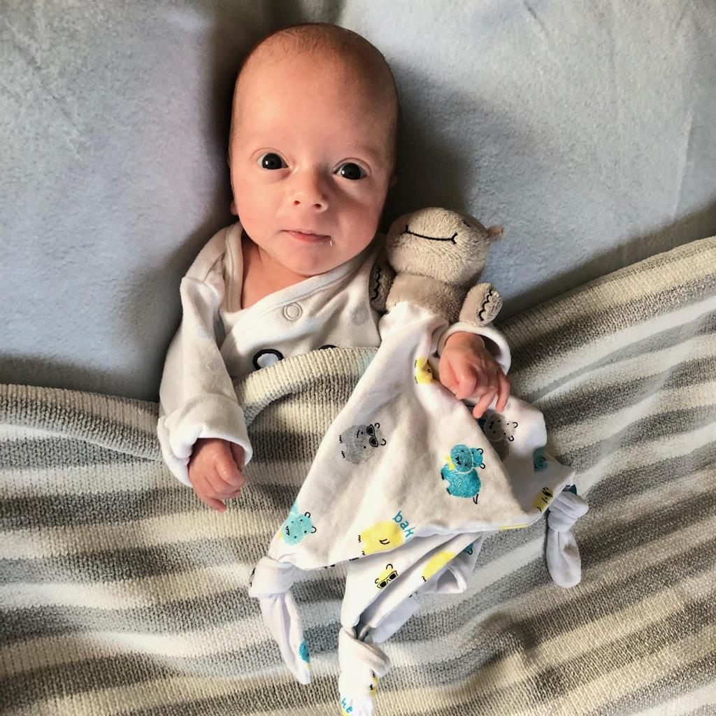 Toy story: Logan teague is now home and weighs a healthy 6lb 10oz PICTURES: SWNS