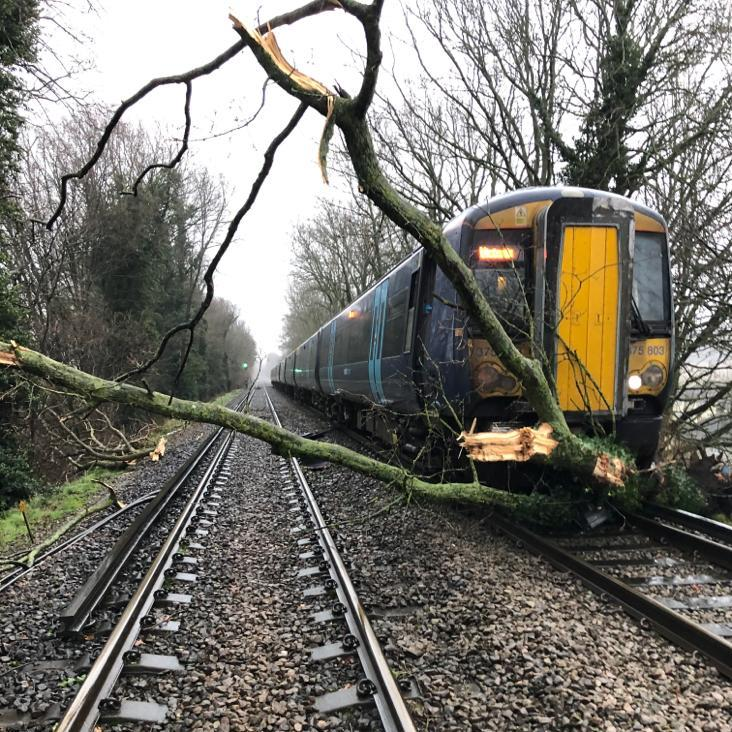 Branch line: Train hits tree in Swanley, Kent, and (below) England blotted out by flood warnings last night