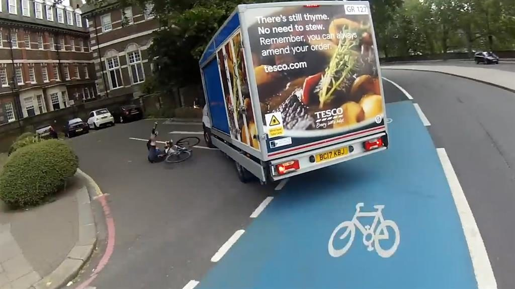 Wheel lucky: Cyclist was knocked to the ground but escaped serious injury PICTURE: CHRIS IMPEY