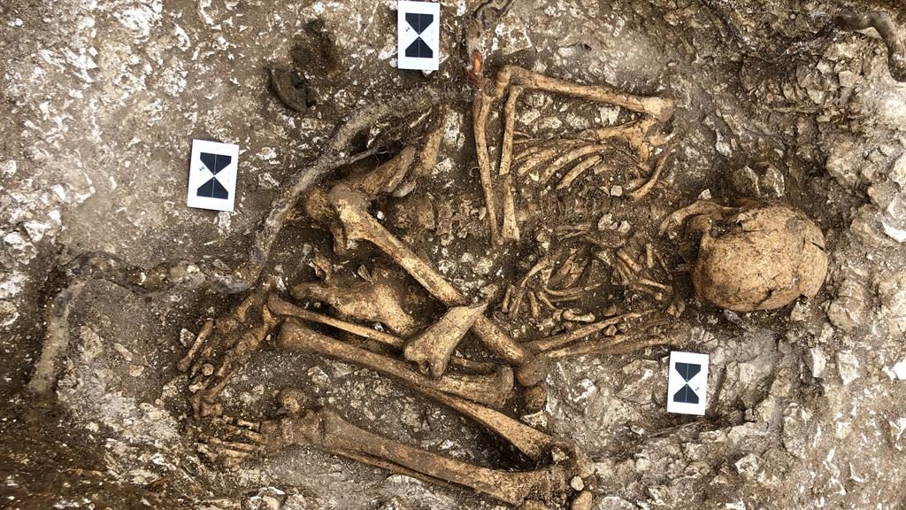 Bone man invasion: One of the skeletons found at a Roman army supply depot in Kent PICTURE: SWNS