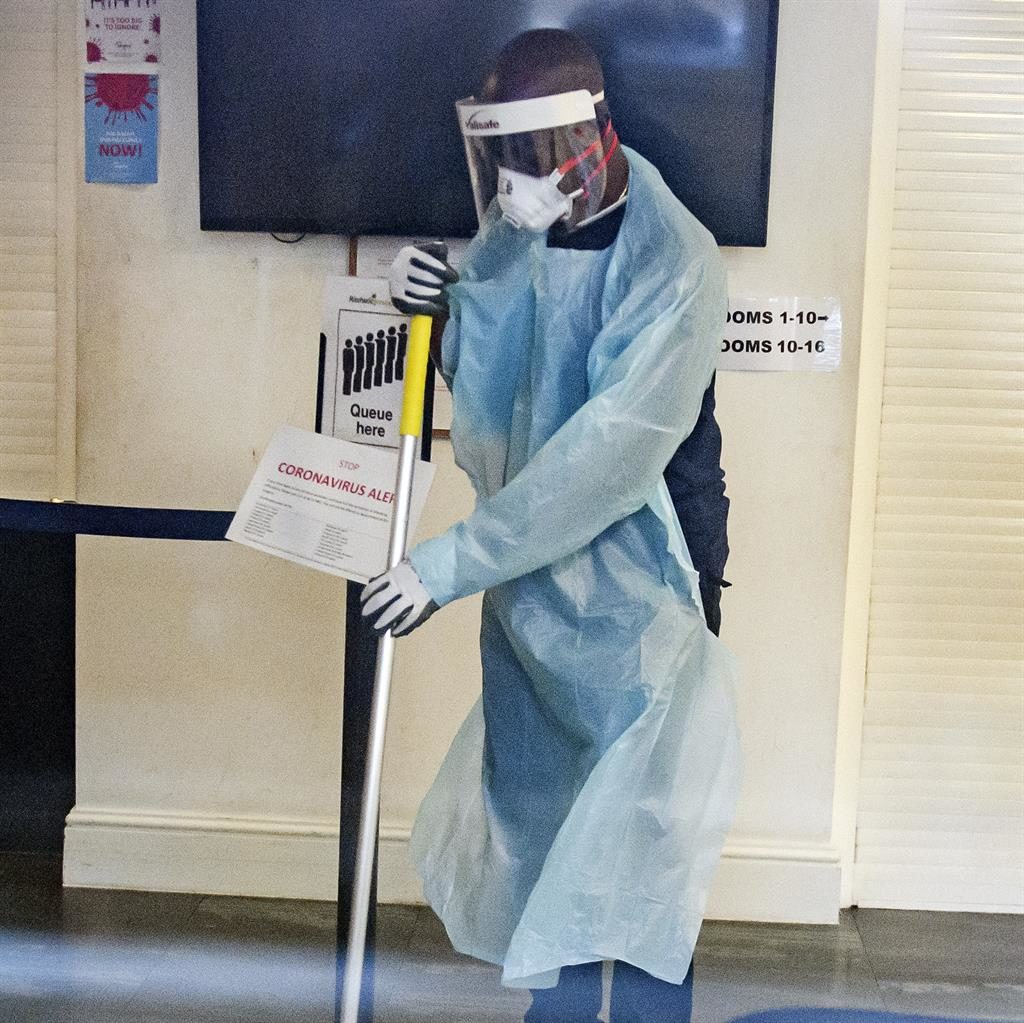 Scrubbing up: The doctor's surgery in Islington, north London, is cleaned PICTURE: LNP