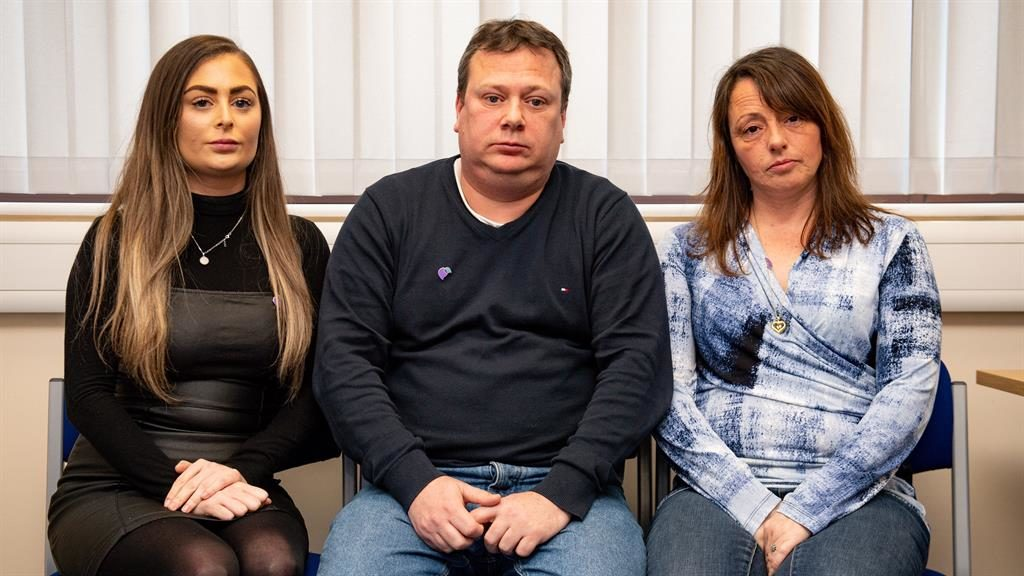 A family destroyed: Leah's parents John and Claire Croucher with their daughter Jade PICTURE: PA.