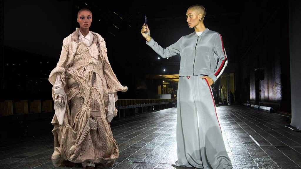 Snap: Model Adwoa Aboah and her digital avatar, created by Three, at London Fashion Week