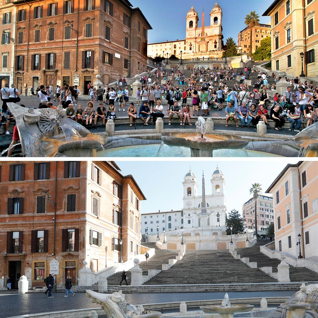Now you see them: Tourists normally gather around the famous Spanish Steps and Fontana della Barcaccia in Rome (top) but only a handful of people were there yesterday, after the Italian lockdown came into effect PICTURES: ALAMY/REUTERS