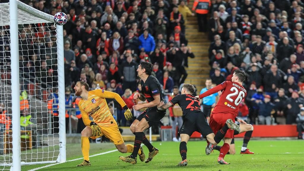 Image result for andy robertson miss vs atletico madrid