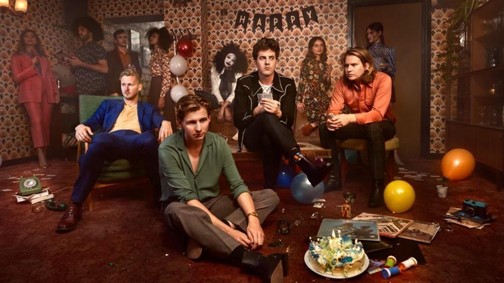Moody mayhem: Kieran (centre, right) with (from left) bandmates Sam Rourke, Joe Falconer and Colin Jones