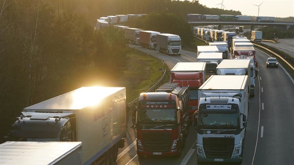 Going nowhere: Lorries in Germany in a 45-mile jam to cross the Polish border PICTURE: GETTY