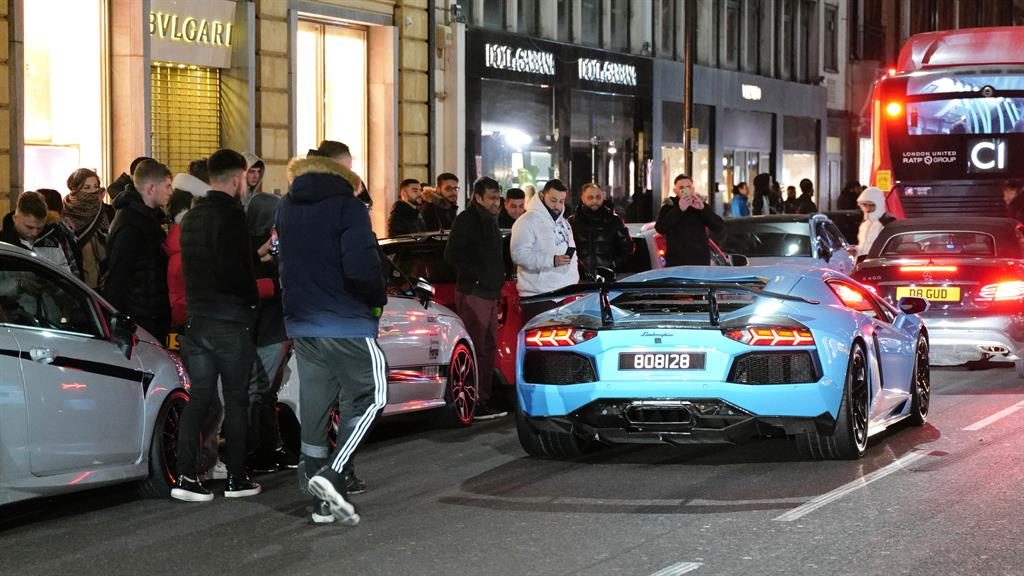 Crowds: Boy racers in their supercars in West London PICTURES: W8MEDIA/RE X/NORTH WALES LIVE/BNPS/EPA/GETTY/ALAMY