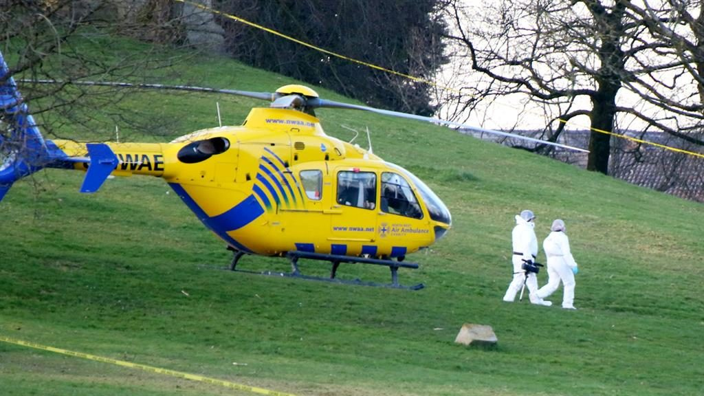 Park horror: North West Air Ambulance flies in as medics desperately try to save the child's life PICTURES: SWNS
