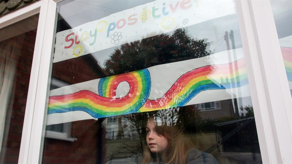 Wonderful swirled: Mabel Wood, 12, with her rainbow in Somerset PICTURE: SWNS