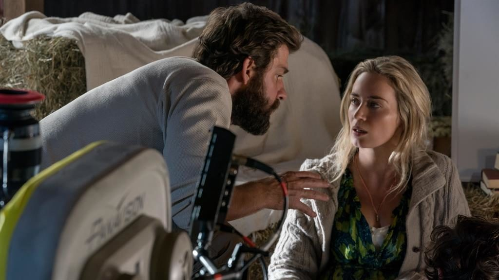 Movie mix: John Krasinski and Emily Blunt in A Quiet Place; Below: 2009's Avatar, Blinded By The Light and sci-fi Bacurau