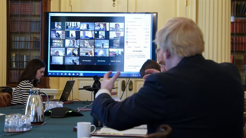 Virtual reality: Boris Johnson at the cabinet video conference PICTURE: ANDREW PARSONS