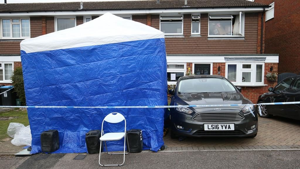 Crime scene: The house cordoned off by police PICTURE: PA