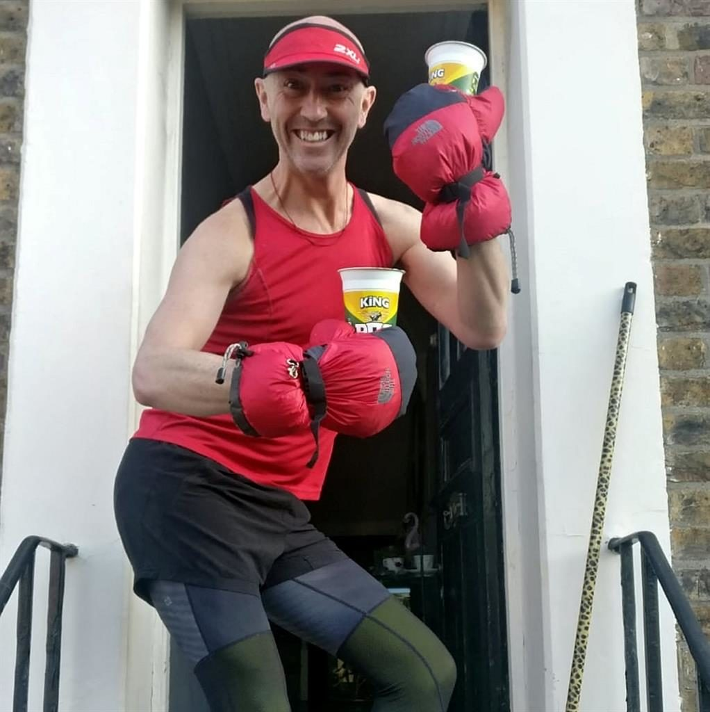 Pots of fun: Fitness fanatic Simon Garner PICTURES: SWNS
