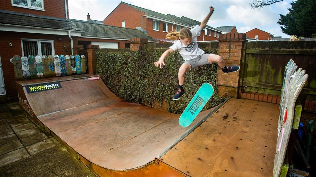 Skater girl: Roxana Howlett, 10, shows off her skills in her back garden